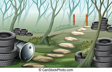 A forest with tires