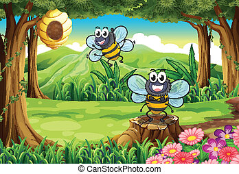 A forest with two bees near the beehive
