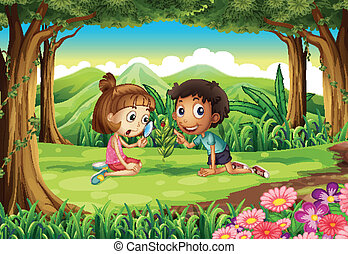 A forest with two kids studying the growing plant with a bug