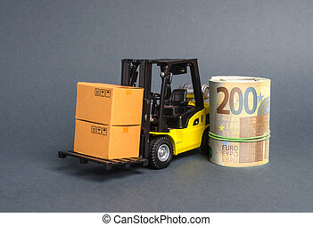A forklift truck carries cardboard boxes and Euro roll. Transport company. Performance efficient. Trade and production of products and goods, balance import export. development of the global economy