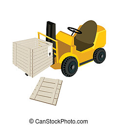 A Forklift Truck Loading Open Shipping Box - Powered...