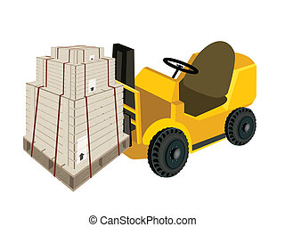 A Forklift Truck Loading Shipping Boxs with Steel Strapping...