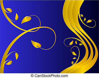A formal floral background vector with a gold formal floral design on a darker blue background. Room for text