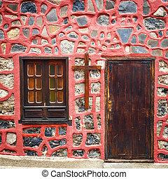 a, foto, av, färgglatt, främre del, dörrar, till, hus