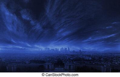 a, foto, av, förbluffande, oväder, in, den, cit