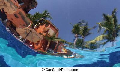 a, fotoapperat, gesetzt, underwater, in, a, schwimmbad,...