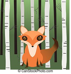 A fox in the woods - An illustration of a fox sitting in the...