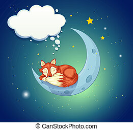 A fox sleeping above the moon - Illustration of a fox...