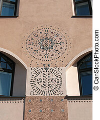 building in Art Nouveau style - A fragment of a building in ...