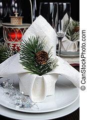 Christmas table setting napkin