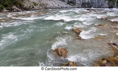 Fragment of a mountain river in Abkhazia