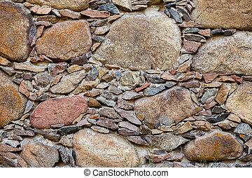 fragment of an old stone wall