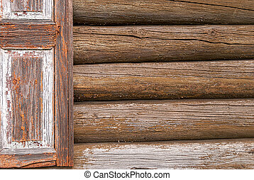 A fragment of an old wooden house