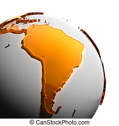 A fragment of the Earth with continents of orange glass