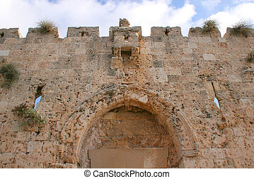 Gate of Zion - A fragment of the Gate of Zion in Jerusalem...