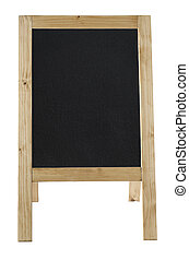 A-Frame Blackboard Isolated on White - Front view of a...