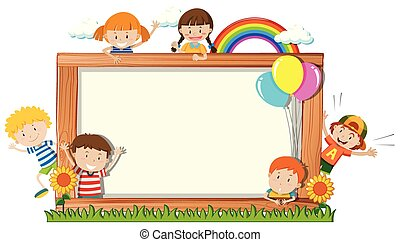 A frame board with happy children