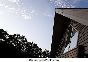 A Frame House - The front facade of a modern contemporary A...