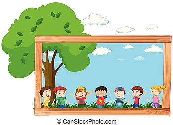 A frame of children in nature
