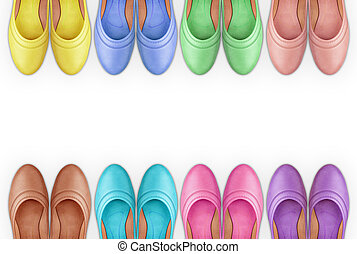 a frame of colorful leather shoes isolation on a white background