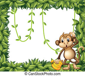 A frame of leaves with a monkey and bananas - Illustration...
