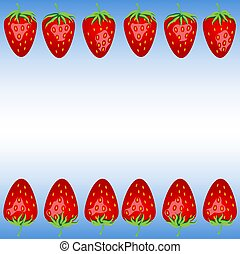 A frame of strawberries on a blue background
