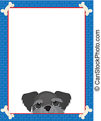 Schnauzer - A frame or border featuring the face of a...