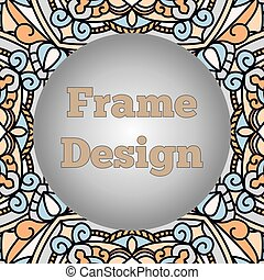 A frame with a beautiful oriental ornament with a ball in the center.
