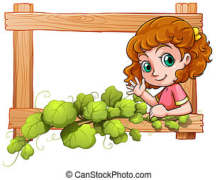 A frame with a cute young girl