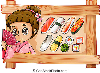 A frame with a girl and the different flavors of sushi