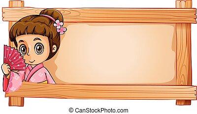 A frame with a girl
