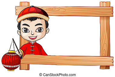 A frame with a smiling Chinese boy