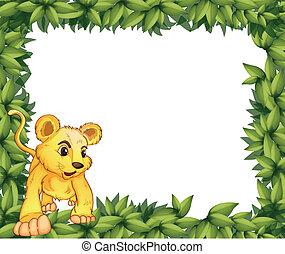 A frame with an animal