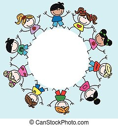 a frame with mixed ethnic children - a frame with mixed...