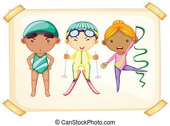 A frame with three sporty kids