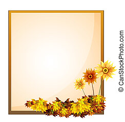 A framed empty signage with flowers - Illustration of a...