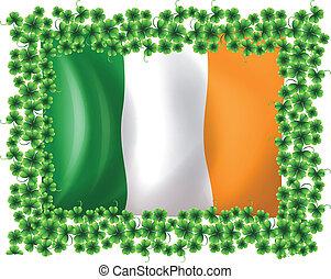 A framed flag of Ireland