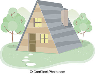 A-Framed House - Illustration of a House with an A-Frame...