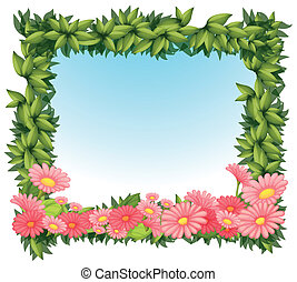 A framed leaves with pink flowers - Illustration of a framed...