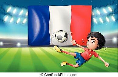 a, francais, joueur football, gabarit
