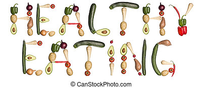 a, frase, 'healthy, eating', feito, saída, de, legumes
