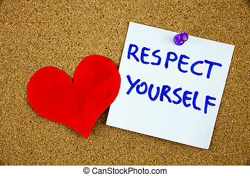 a, frase, respeito, você mesmo, em, vermelho, texto, ligado, um, alinhado, cartão índice, fixado, para, um, cortiça, tabela de anúncios, como, lembrete