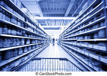 a, frau- einkaufen, an, der, supermarkt