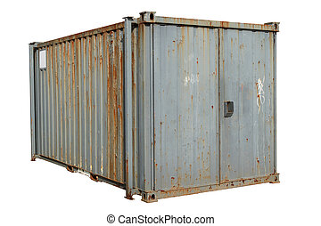 A freight container, isolated on a white background.