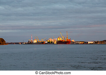Freighter and Tanker at Dusk