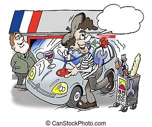 A French man repairs the car