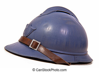 french military helmet of the First World War on white background
