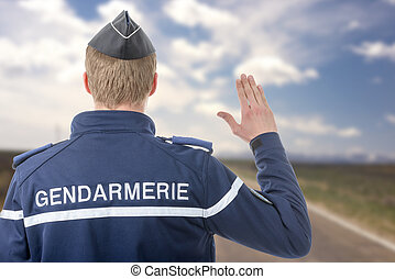 French policeman on the roadside - a French policeman on the...