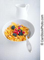 A fresh bowl of corn flakes