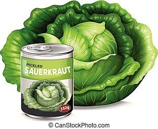A fresh cabbage and tin of sauerkraut illustration